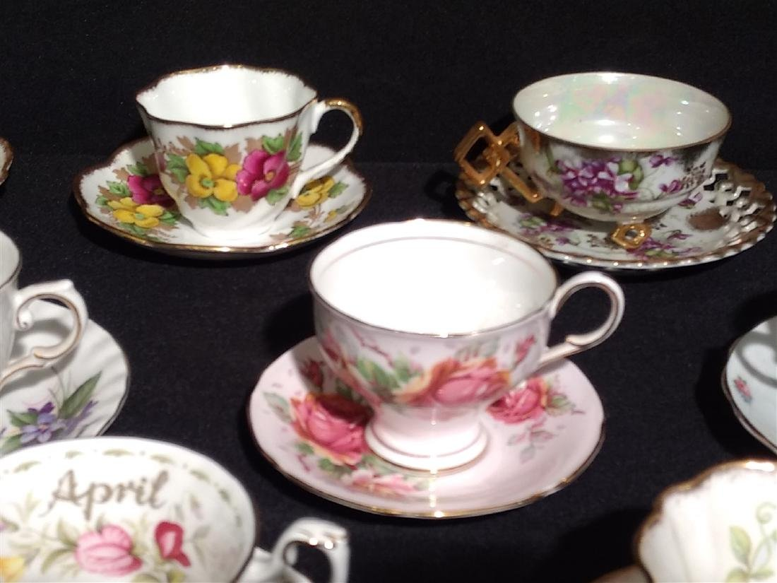 Vintage Bone China Tea Cups and Saucers- Lot of 14 - 5