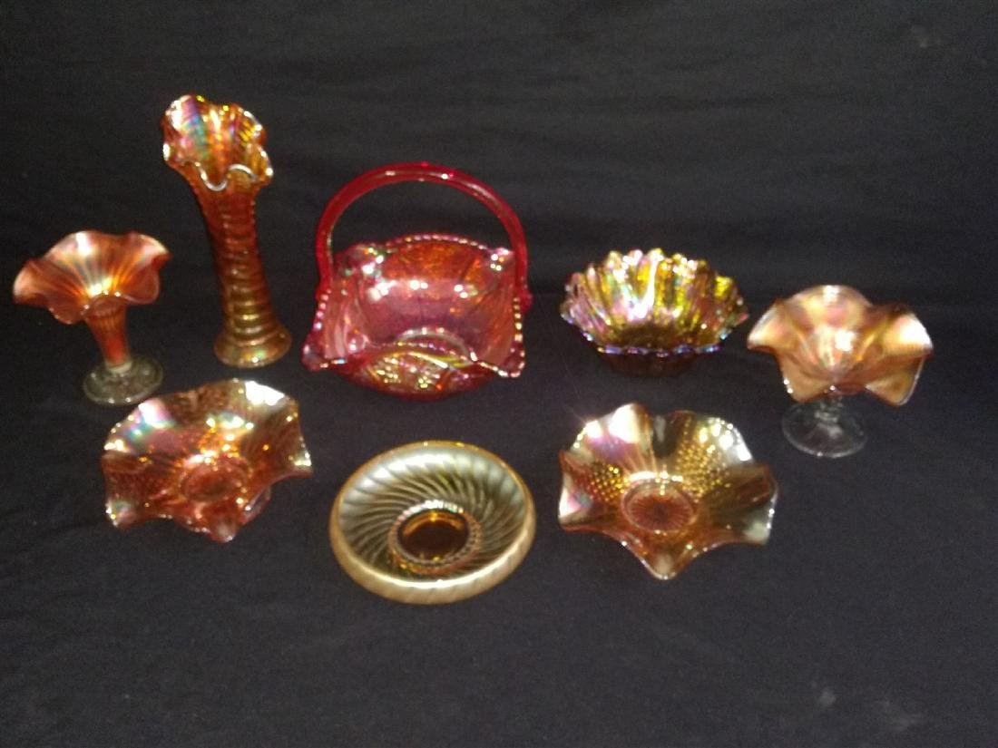 Vintage Carnival Glass 8 Piece Lot