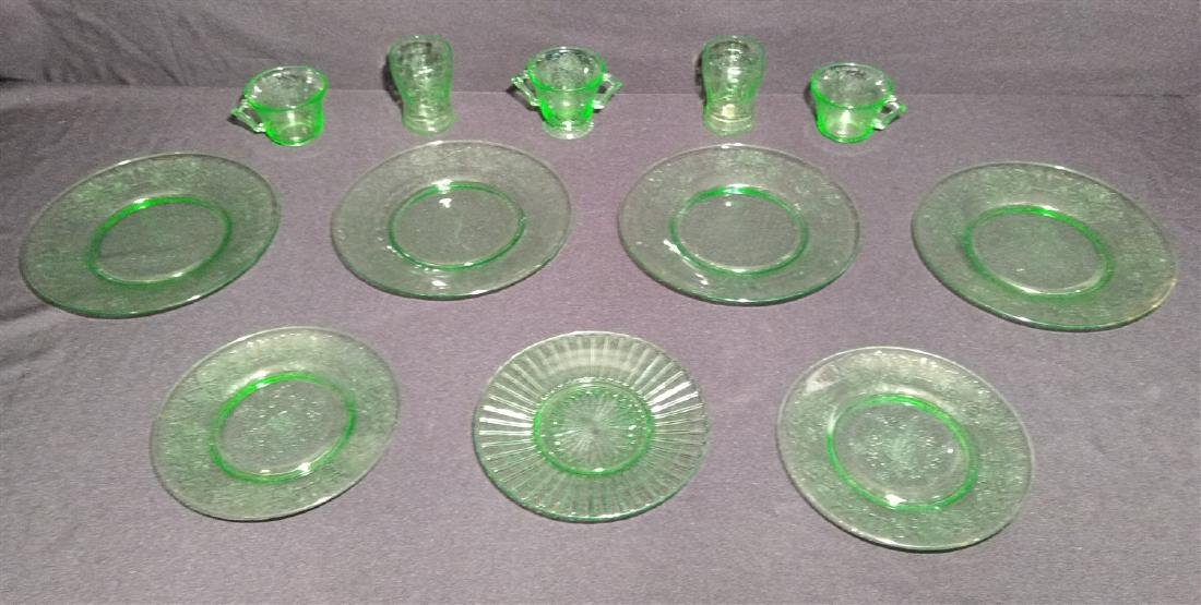 Green Depression Glass Lot of 12 Pieces
