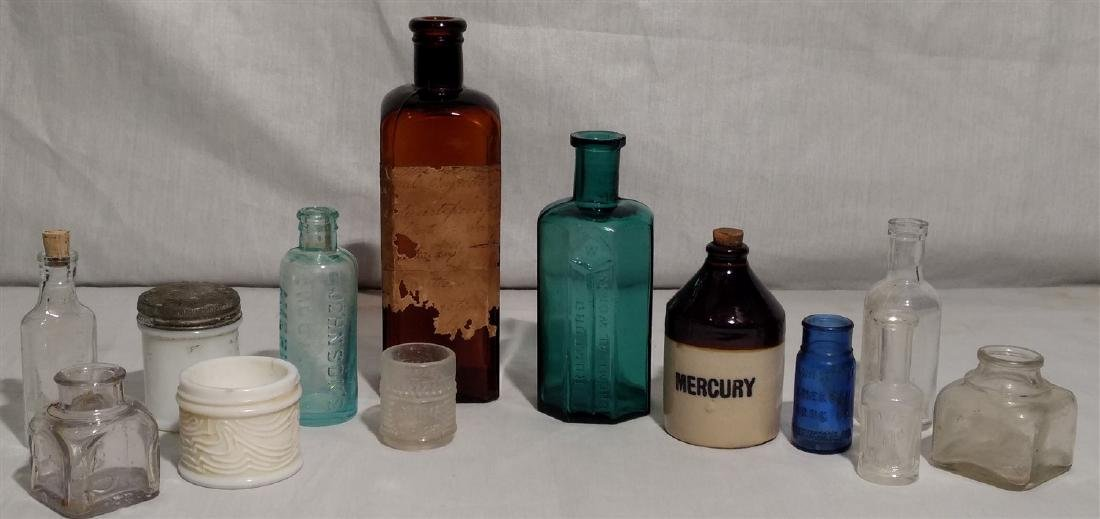 Antique Apothecary Bottles and Ink Wells