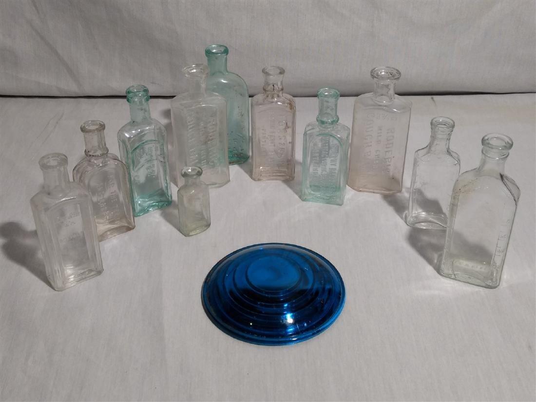 Antique Apothecary Bottles, RR Lantern Blue Lens Glass