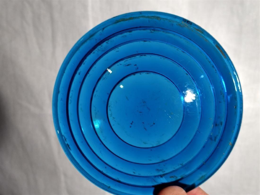 Antique Apothecary Bottles, RR Lantern Blue Lens Glass - 2