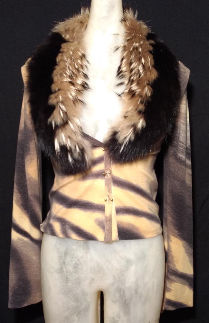 Roberto Cavalli Designer Fox Collar Cardigan