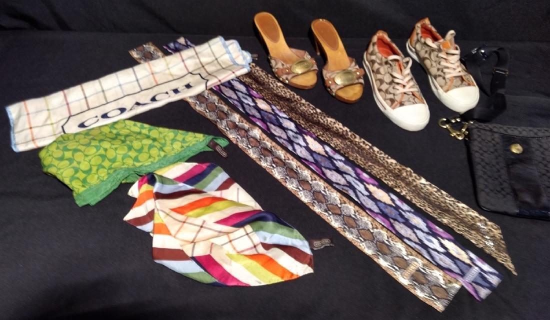 Coach designer lot. Scarves,Shoes,Bag, Silk Headbands,
