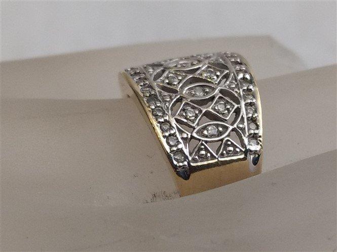 14K Yellow Gold Pave Diamond Ring  Gorgeous - 3