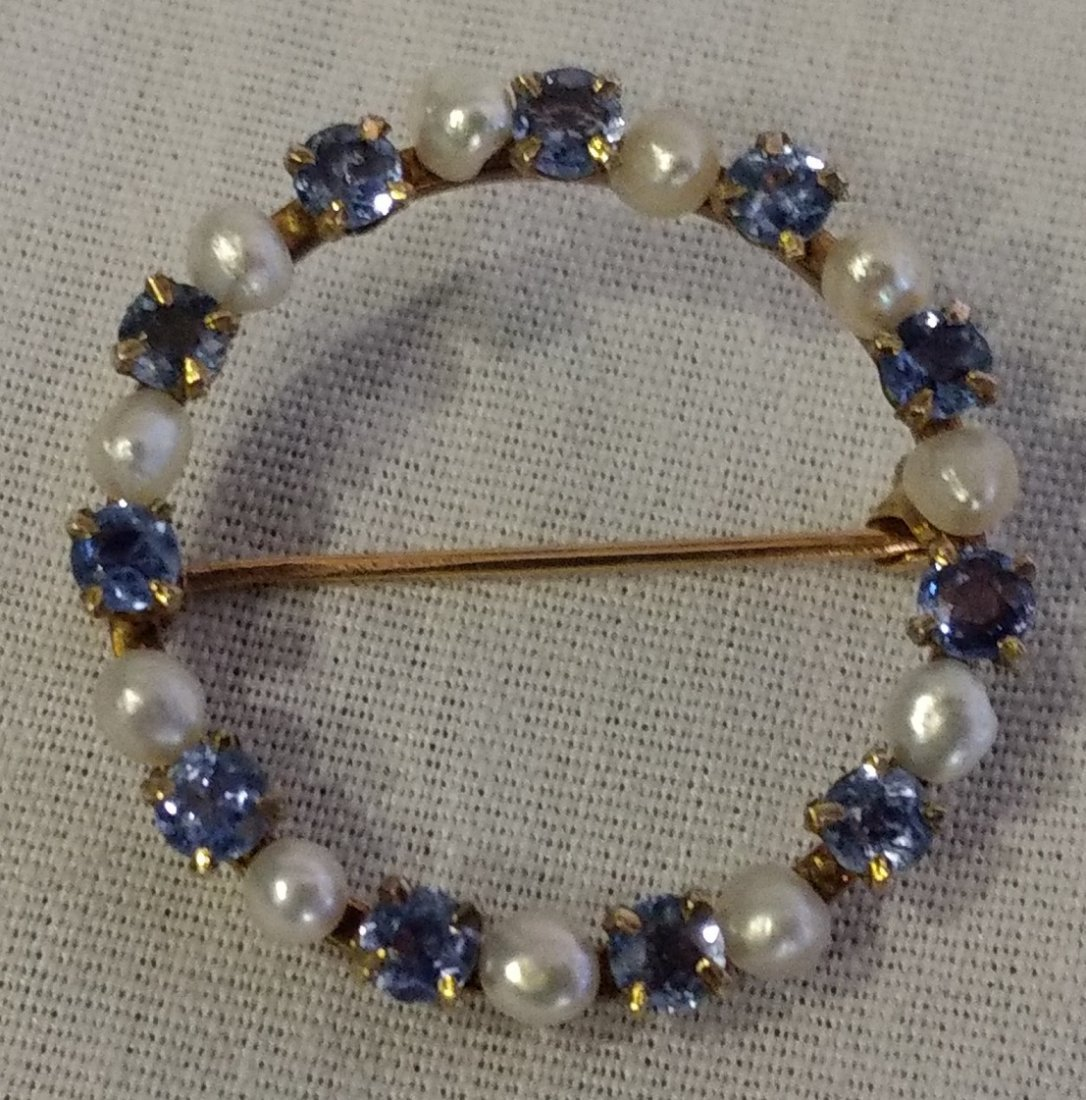Vintage 14k Gold Pearl and Blue Stone brooch.