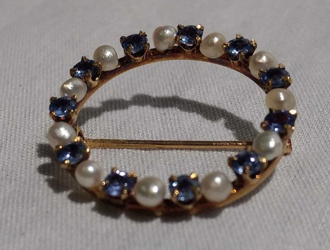Vintage 14k Gold Pearl and Blue Stone brooch. - 2
