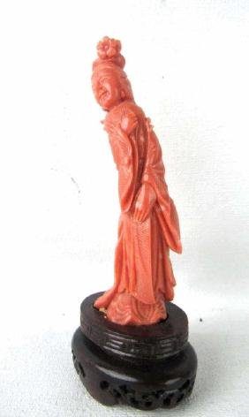 Chinese Coral Figurine of A Female