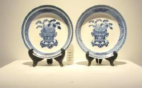 Pair of Blue and White Porcelain Soft Paste Dishes