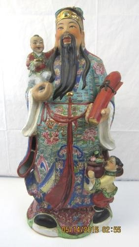 Massive Chinese Porcelain God Statue