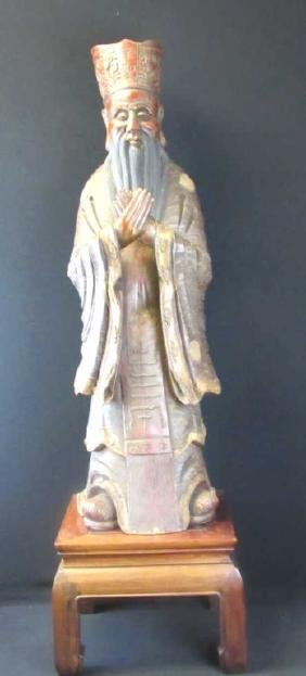 Chinese Wood Carved Zhangmu Sage Statue
