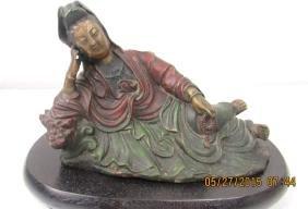 Chinese Bronze and Zitan Wood Guanyin Statue