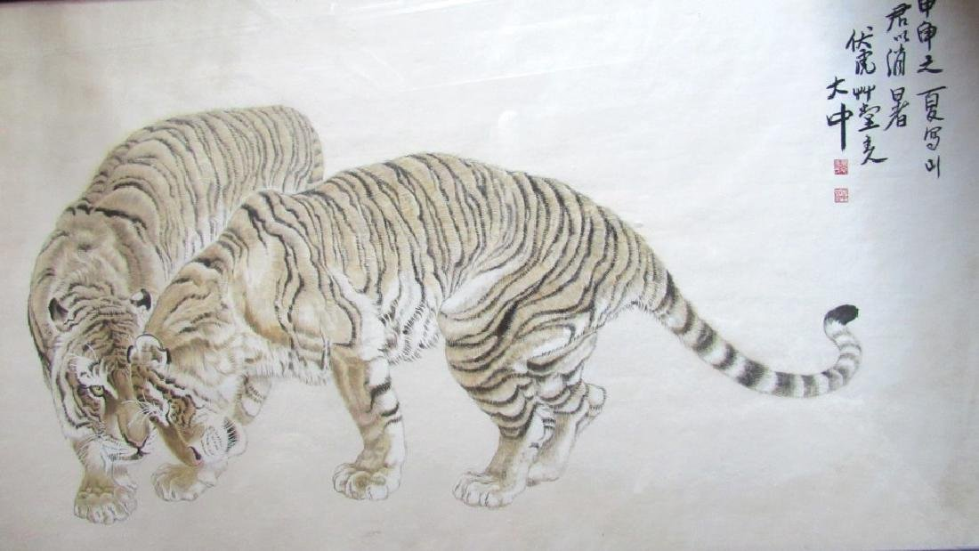 Framed Painting of Two Tigers