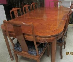Chinese Rosewood Table and 8 Chair Set