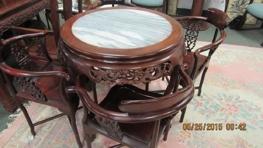 5 Piece Hardwood Round Marble Top Table