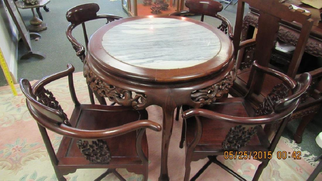 5 Piece Hardwood Round Marble Top Table - 2