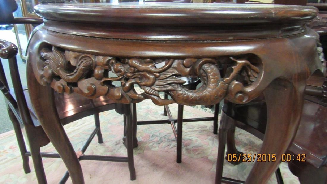 5 Piece Hardwood Round Marble Top Table - 3
