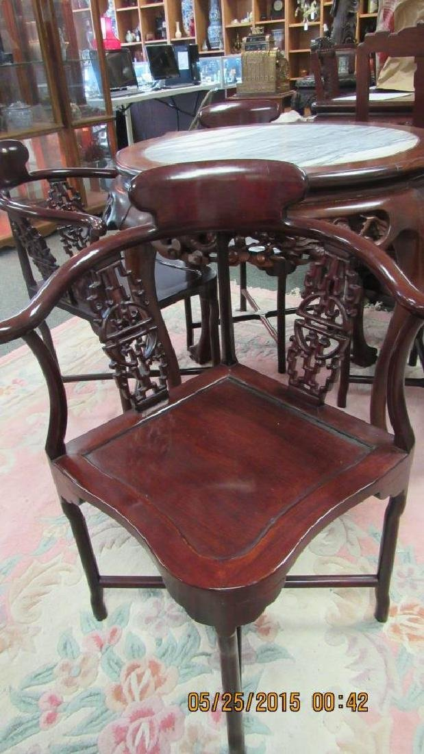 5 Piece Hardwood Round Marble Top Table - 4