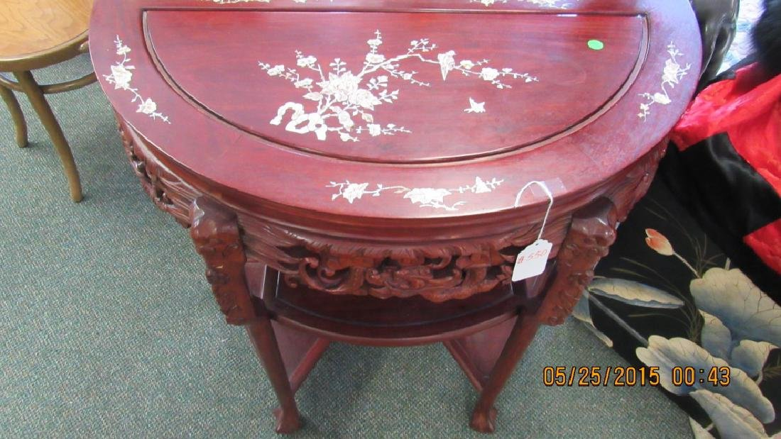 5 Piece Hardwood Round Marble Top Table - 5