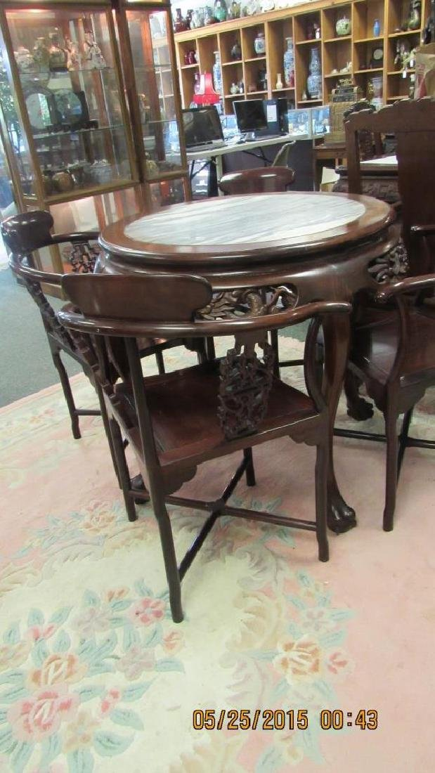 5 Piece Hardwood Round Marble Top Table - 6