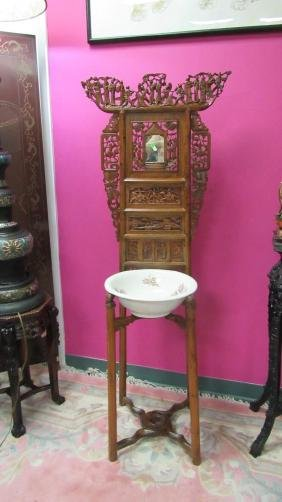 Carved Yellow Rosewood Washstand