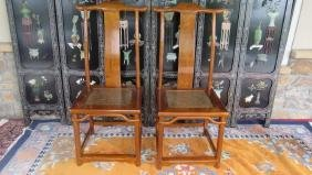 Qing Dynasty Pair of Huanghuali Wood Chair