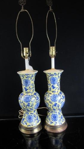 Pair 19th-20 Century Chinese Blue & Yellow Lamp