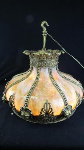 Gilded Stained Glass Pendent Lamp