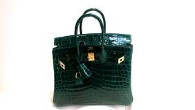 A Shiny Vert Emeraude Nilo Crocodile Birkin 25 Bag