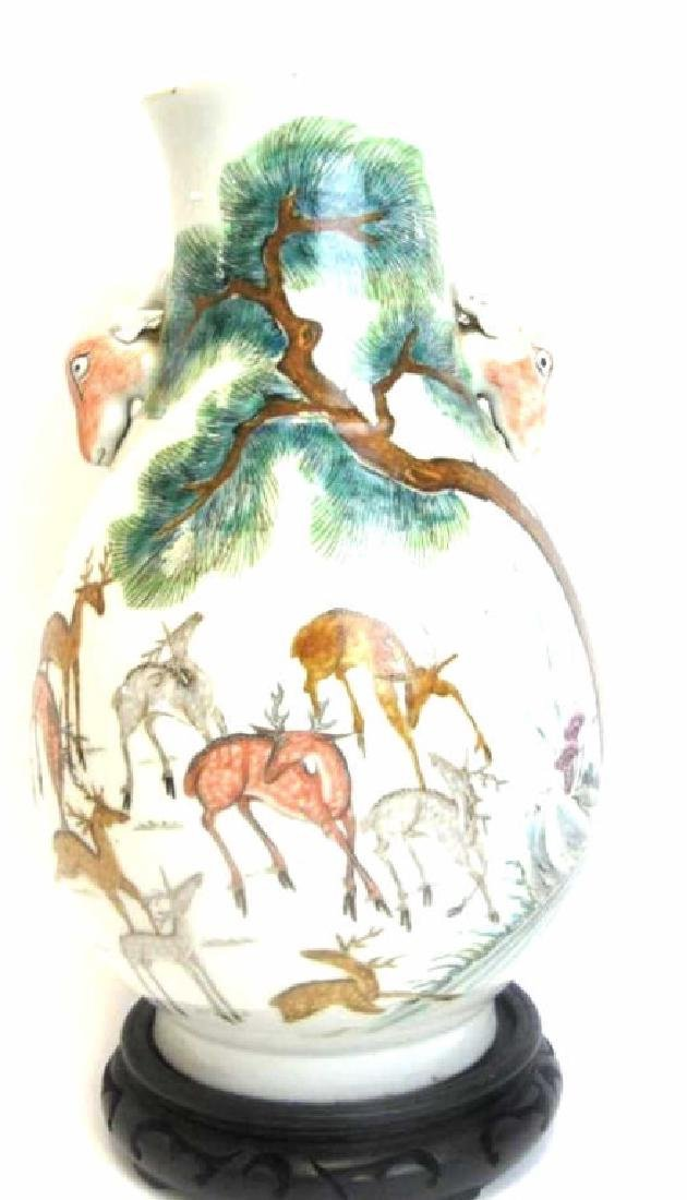 Ching Dynasty Chinese Deer Vase