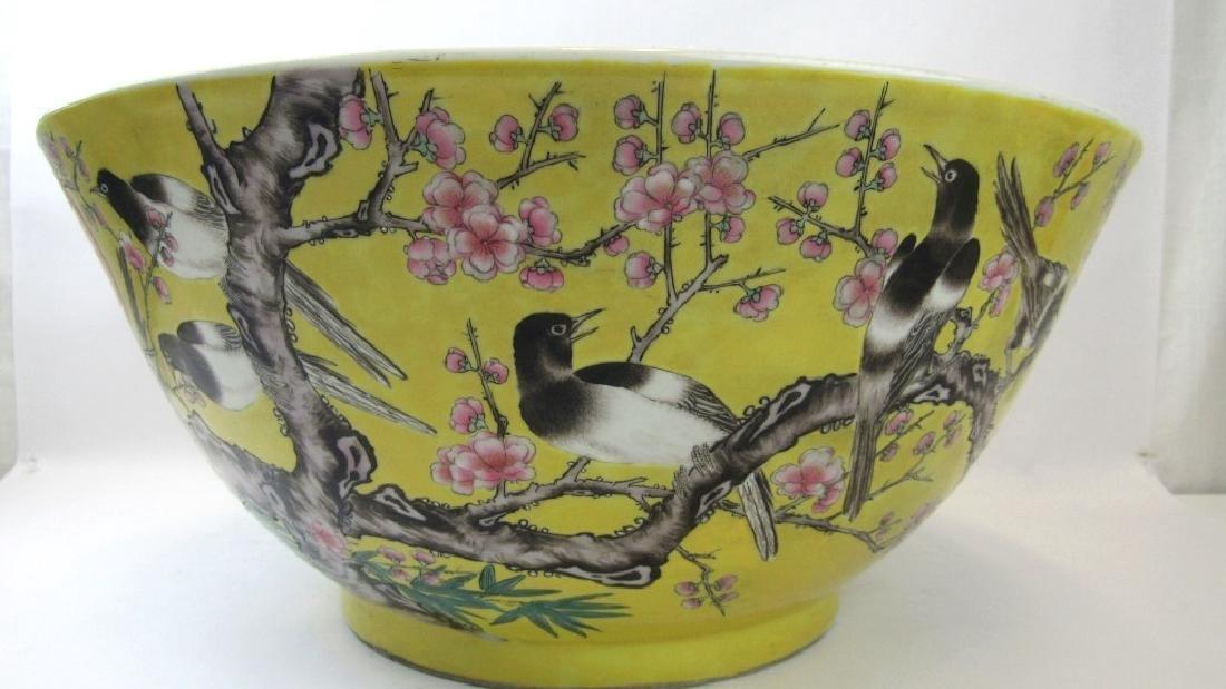 Chinese Dayahazi Famille Rose Yellow Large Bowl