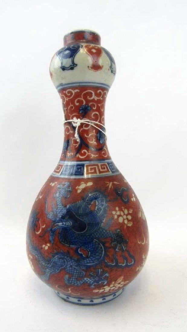 AChinese Decorated Garlic Mouthform Bottle Vase