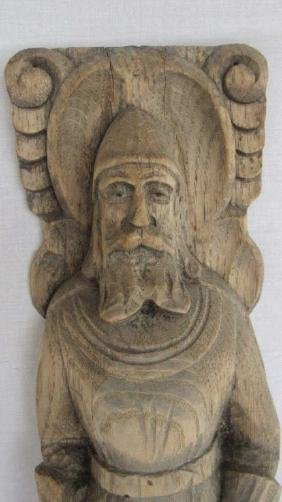 Carved Wood Knight Plaque