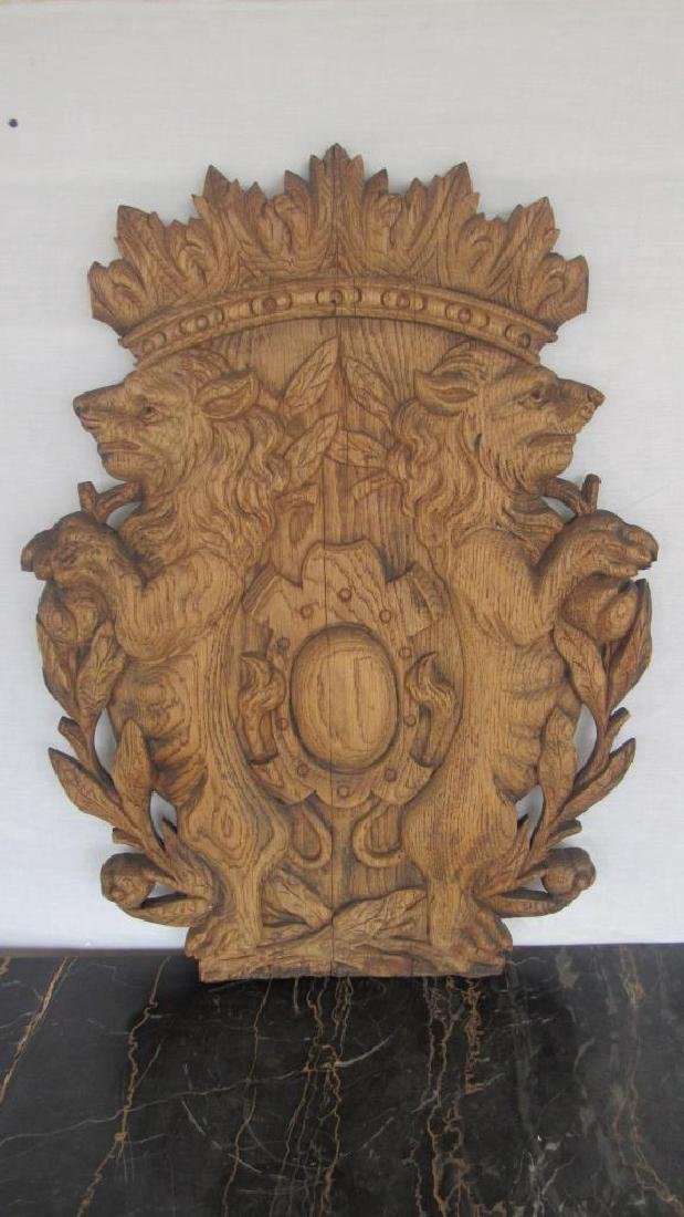 Carved Wood Family Crest Plaque - 2