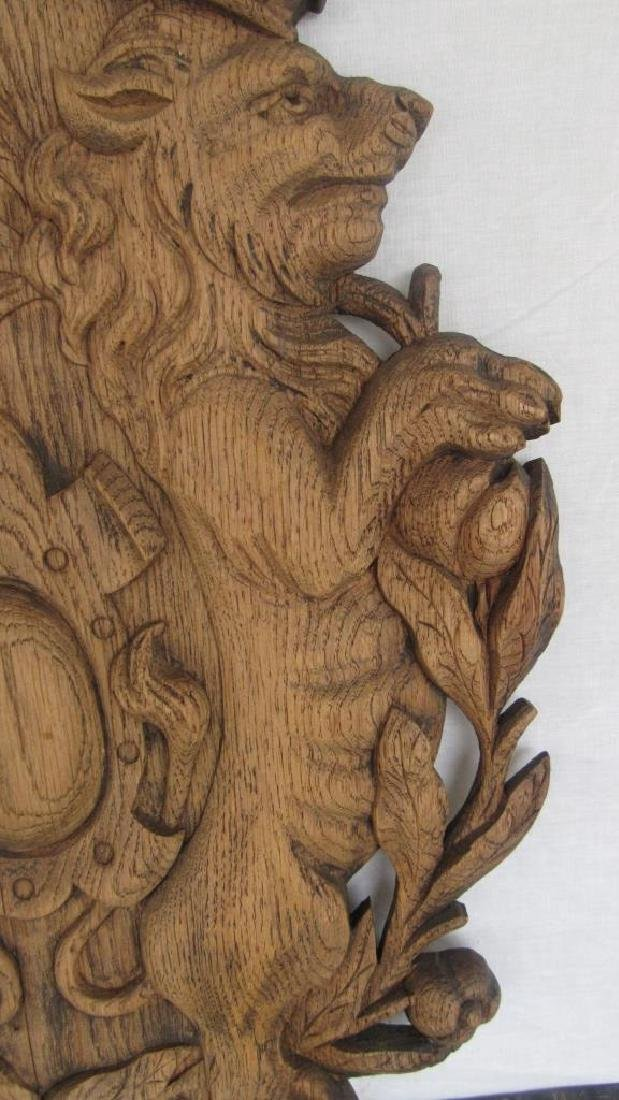 Carved Wood Family Crest Plaque - 3