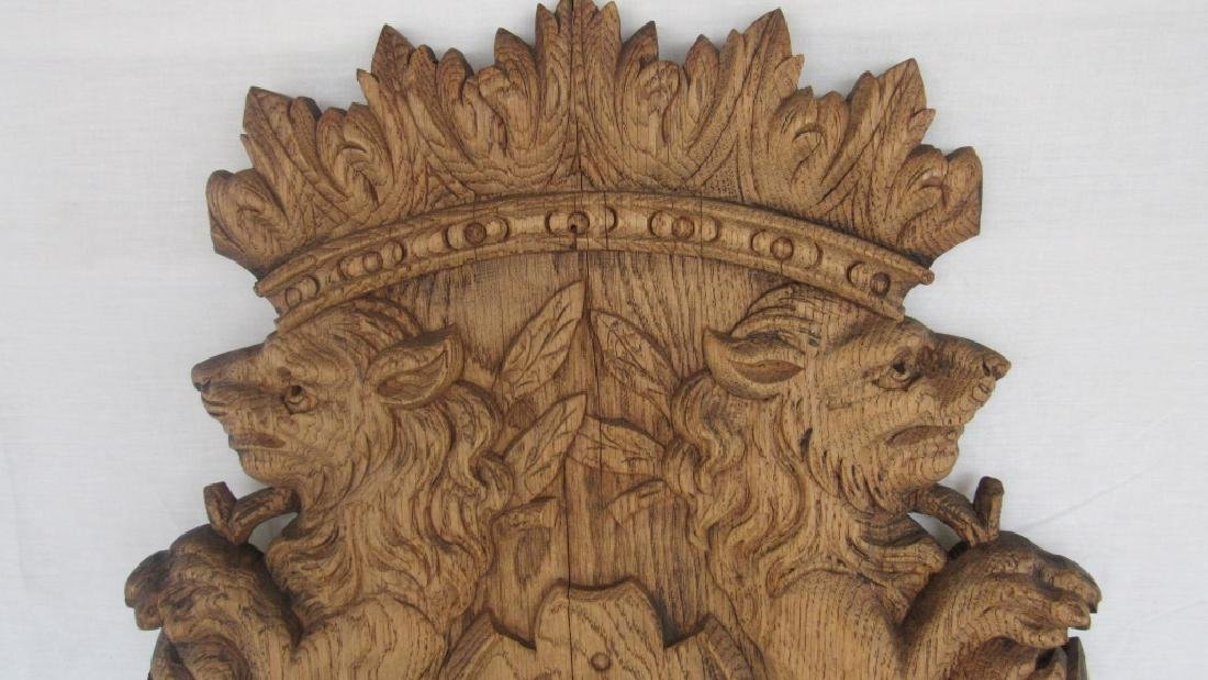 Carved Wood Family Crest Plaque - 4