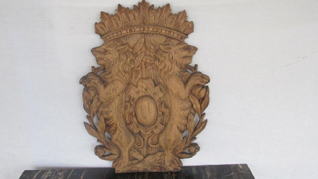 Carved Wood Family Crest Plaque - 5