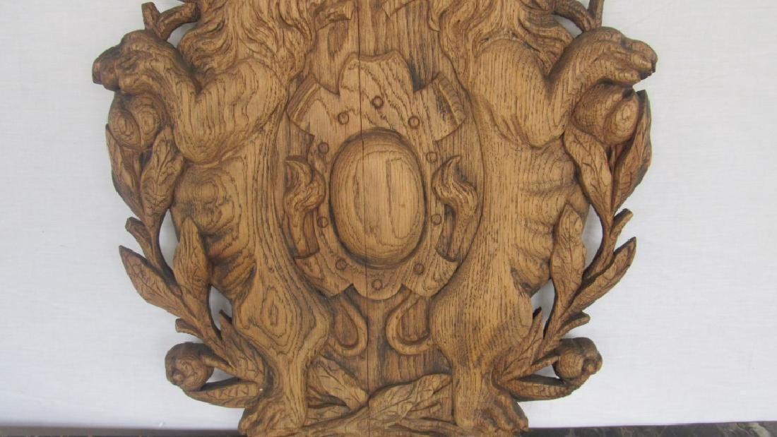 Carved Wood Family Crest Plaque - 7