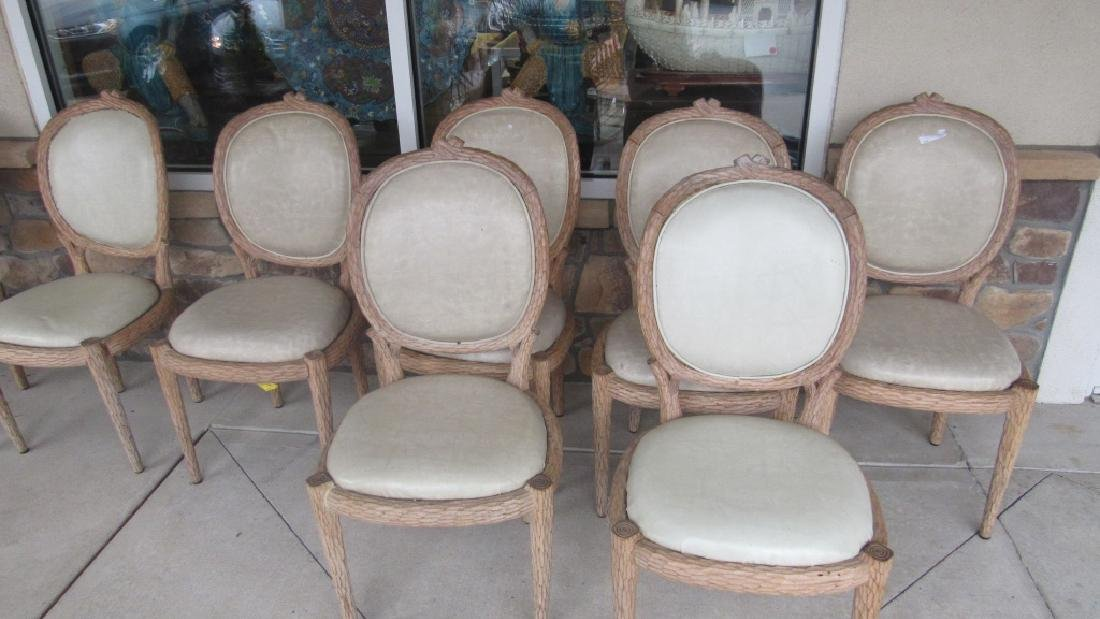 Set of 8 Upholstered Carved Wood Chairs - 2