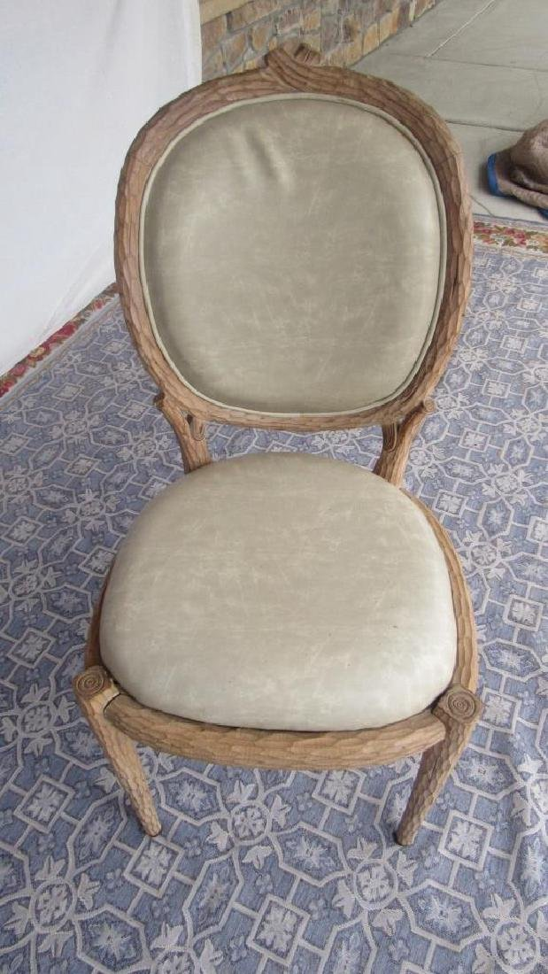 Set of 8 Upholstered Carved Wood Chairs - 3