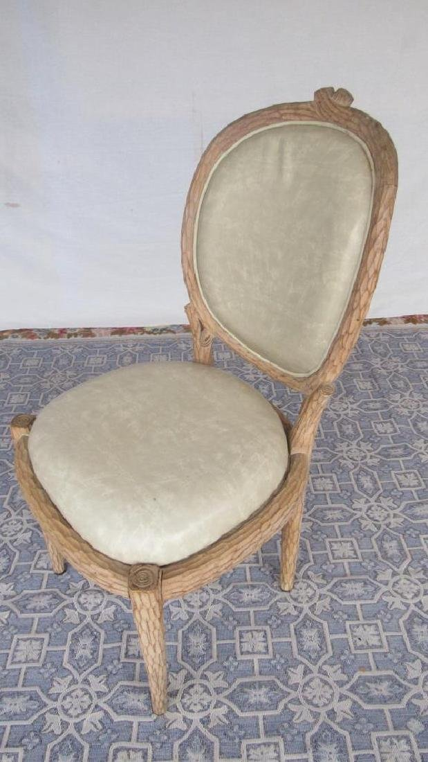 Set of 8 Upholstered Carved Wood Chairs - 4