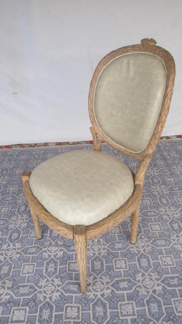 Set of 8 Upholstered Carved Wood Chairs - 5