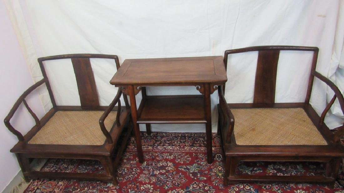 Set of Chinese Huanghuali Table and Arm Chairs