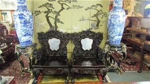Pair of Qing Dynasty Zitan wood upholstered chairs