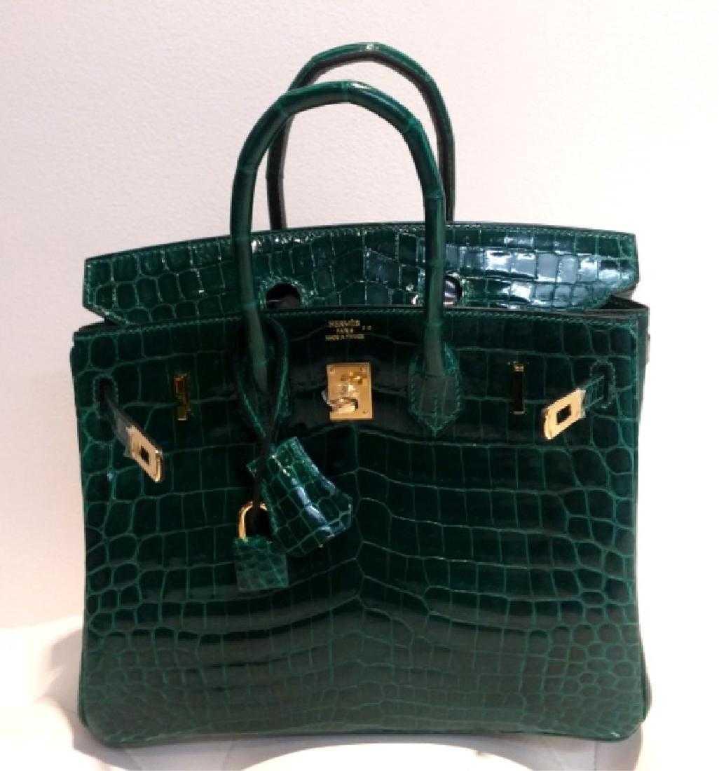 d27c3189993 Shiny Vert Emeraude Nilo Crocodile Birkin 25 Bag