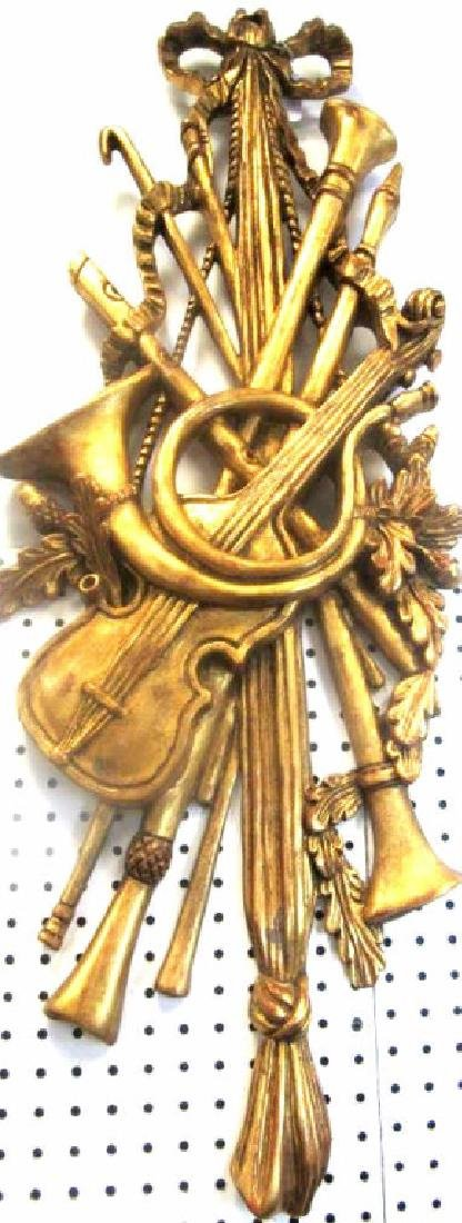 Old Gold Gilded Wood Carving of Musical Instrument - 2