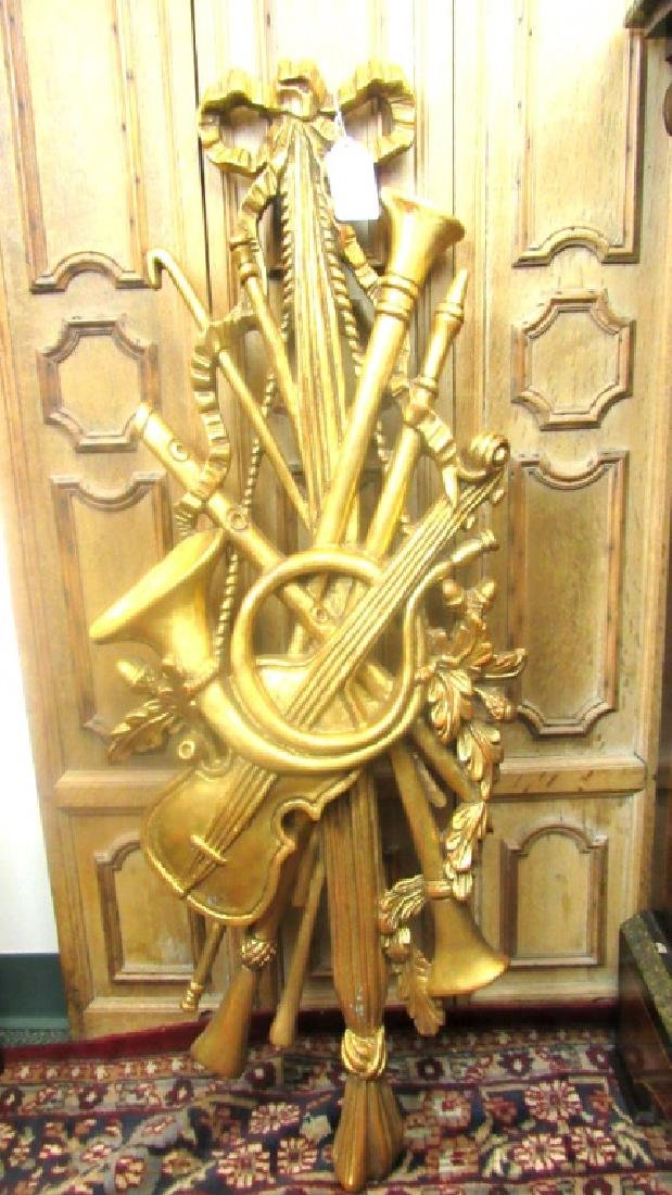 Old Gold Gilded Wood Carving of Musical Instrument - 3