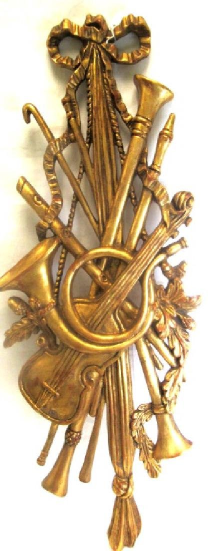 Old Gold Gilded Wood Carving of Musical Instrument - 4