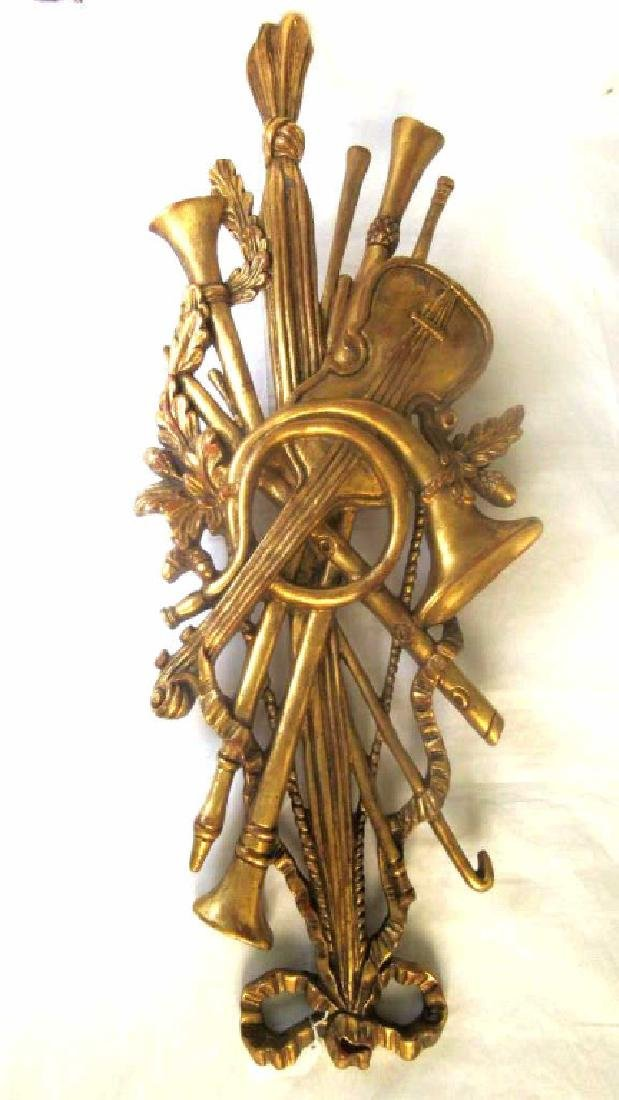 Old Gold Gilded Wood Carving of Musical Instrument - 5
