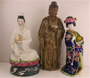 Three Asian Porcelain Statues
